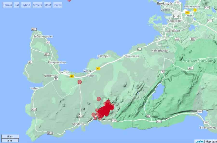 Recent earthquakes in the Reykjanes peninsula