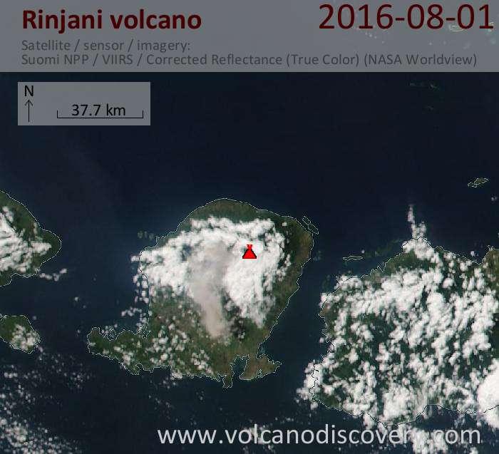 Today's ash plume from Rinjani volcano in Indonesia