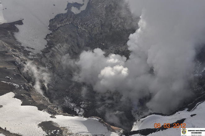 Nevado del Ruiz volcano's crater seen on 8 Mar 2012. Scientists measured a strong heat source.
