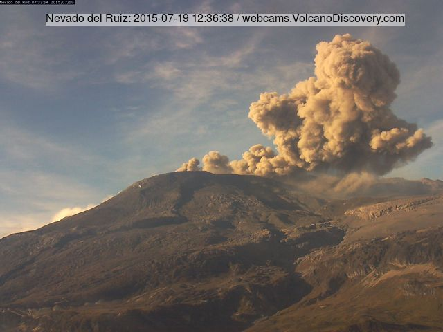 Ash emissions from Nevado del Ruiz on 19 July