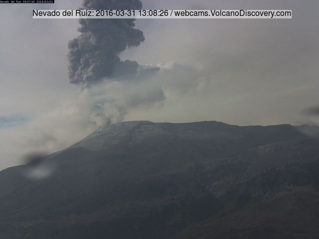 Ash column from Nevado del Ruiz volcano this morning