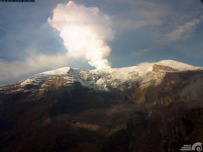 Nevado del Ruiz yesterday (INGEOMINAS)