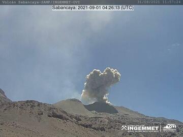 Eruption from Sabancaya volcano today (image: INGEMMET)