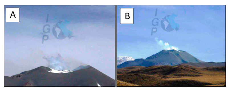 Sabancaya volcano on 26 June with blue and grayish gas emissions (A) and steaming (B) (IGP)