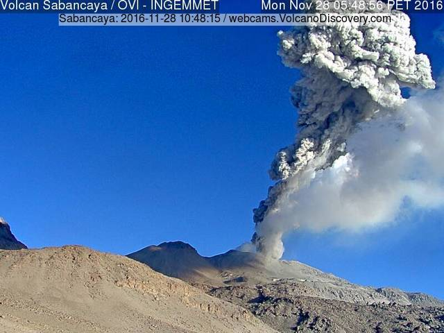 Strong explosion at Sabancaya this morning (INGEMMET webcam)