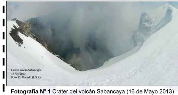 The crater of Sabancaya volcano on 21 May 2013 (IGP)