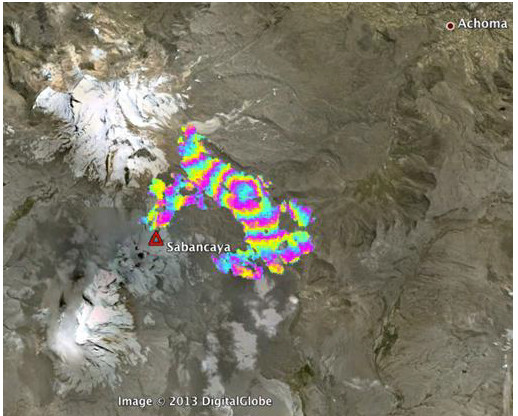 Ground deformation (deflation) at Sabancaya volcano measured by InSAR (IGP)