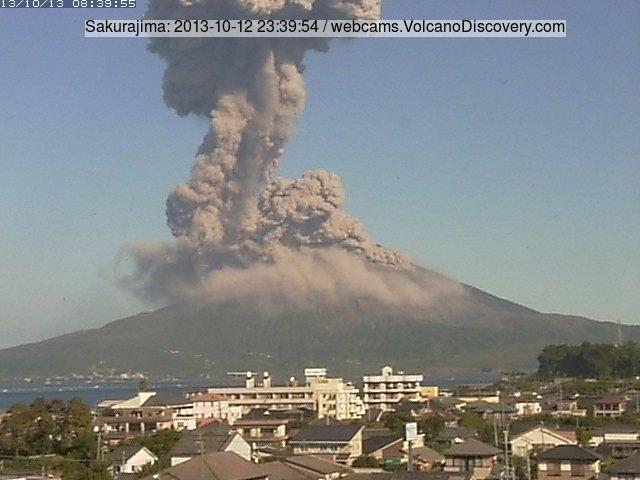 Explosion from Sakurajima early this morning (Tarumizu webcam)