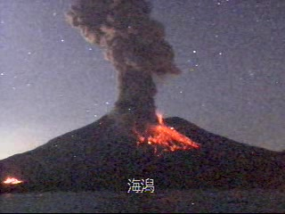 Eruption of Sakurajima volcano early on 27 Jan