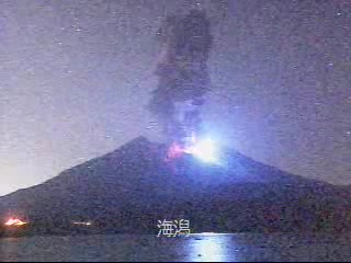 Eruption lightning from an explosion of Sakurajima this evening