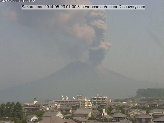 Eruption of Sakurajima this morning (Tarumizu City webcam)