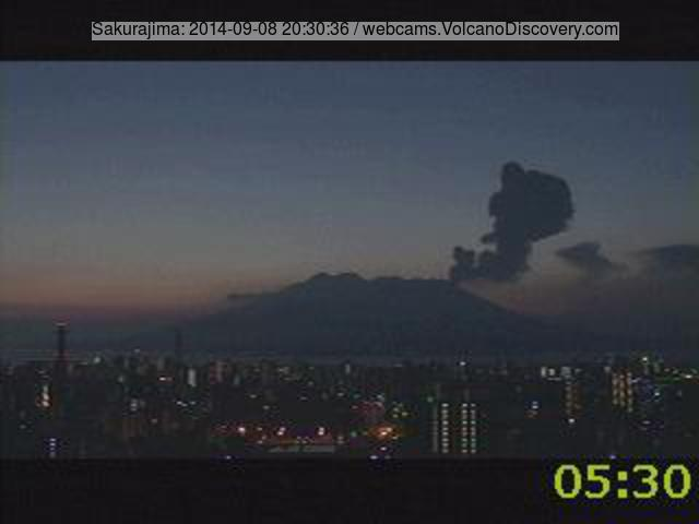 Ash plume from an explosion at Sakurajima volcano yesterday morning