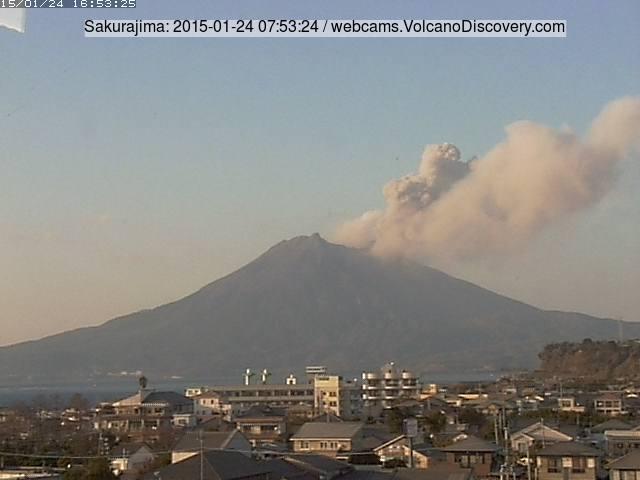 Mild explosive activity from Sakurajima today