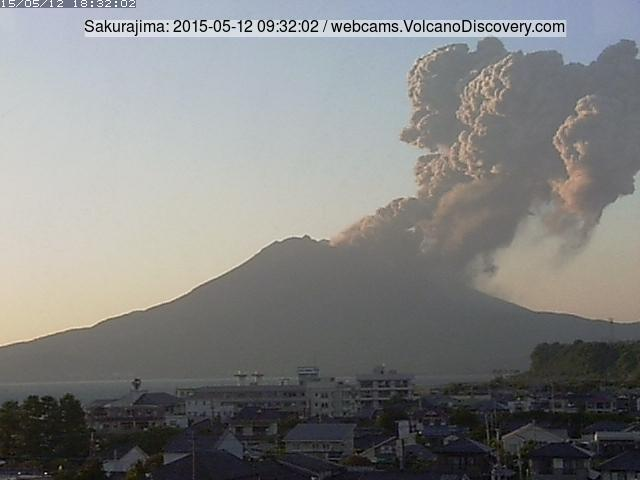 Eruption plume from Sakurajima this evening