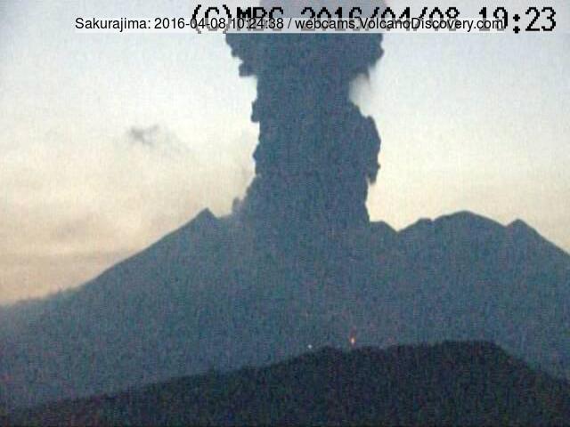 Eruption from Sakurajima this afternoon