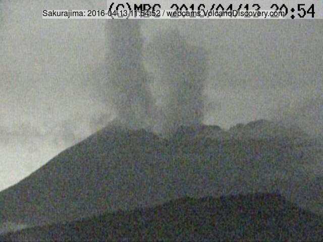 Steam (with ash?) plumes from Minamidake (l) and Showa (r) craters at Sakurajima yesterday evening