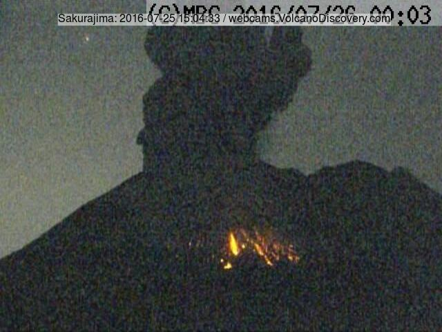 This evening's explosion at Sakurajima volcano