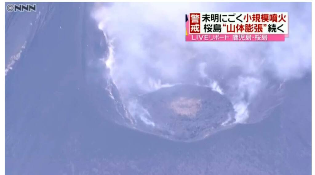 Sakurajima's lava dome inside Showa crater
