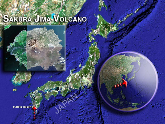 Satellite image of Sakura Jima volcano (c) Google Earth View