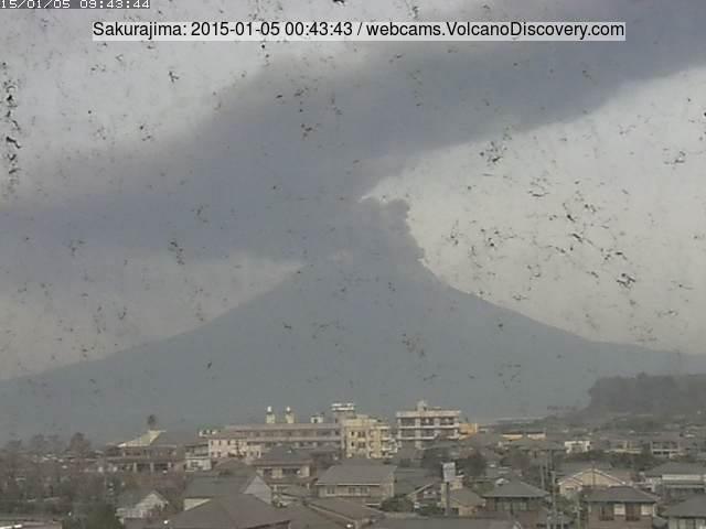 Ash plume from Sakurajima volcano this morning