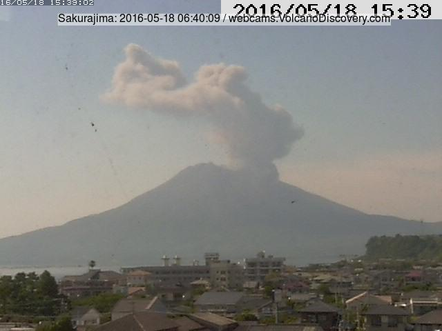 The last explosion at Sakurajima on Wednesday evening