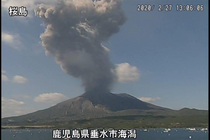 Eruption of Sakurajima volcano this morning (image: JMA webcam)