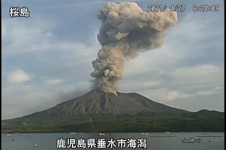 Ash column erupted from Sakurajima's crater this morning (image: JMA)