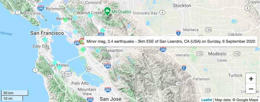 Location of yesterday's magnitude 3.2 quake near San Francisco