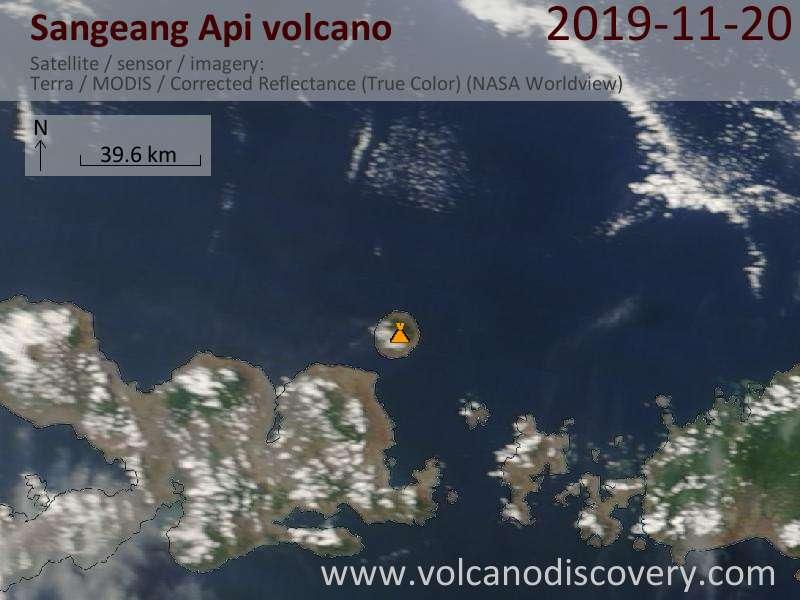 Спутниковое изображение вулкана Sangeang Api 20 Nov 2019