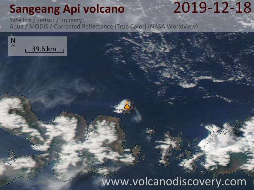 Satellite image of Sangeang Api volcano on 18 Dec 2019