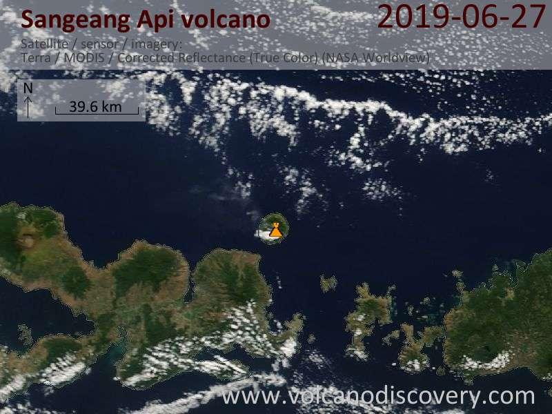 Satellite image of Sangeang Api volcano on 27 Jun 2019