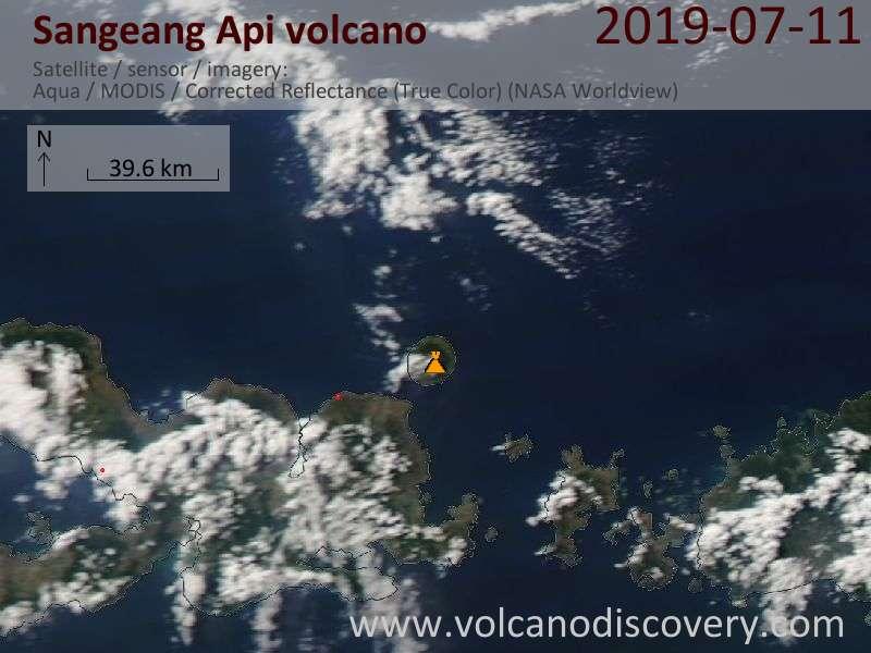 Satellite image of Sangeang Api volcano on 12 Jul 2019