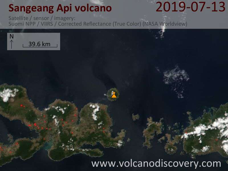 Satellite image of Sangeang Api volcano on 14 Jul 2019