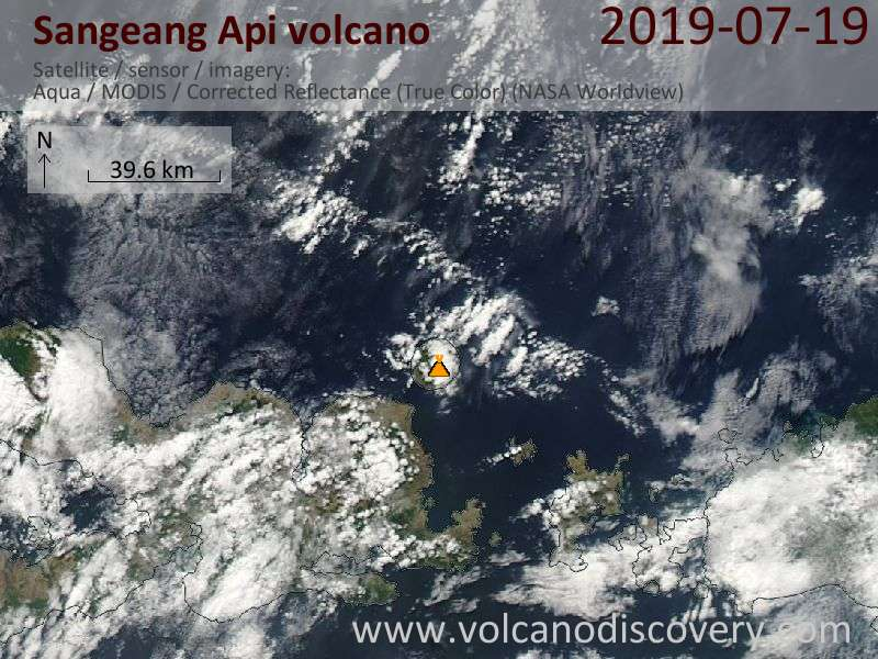 Satellite image of Sangeang Api volcano on 20 Jul 2019