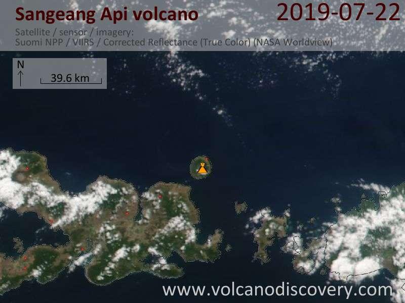Satellite image of Sangeang Api volcano on 23 Jul 2019