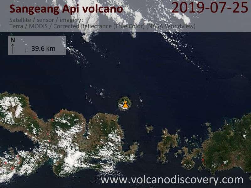 Satellite image of Sangeang Api volcano on 25 Jul 2019