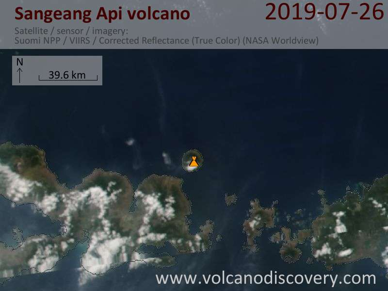 Satellite image of Sangeang Api volcano on 26 Jul 2019