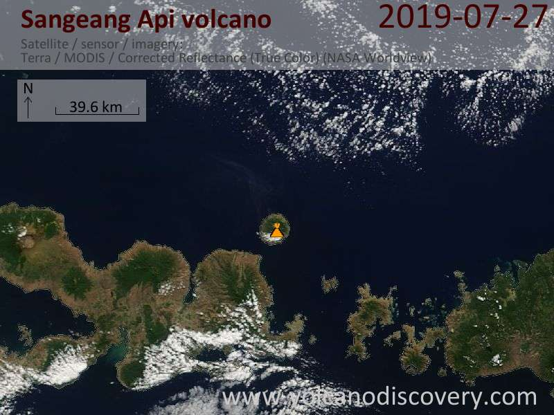 Satellitenbild des Sangeang Api Vulkans am 27 Jul 2019