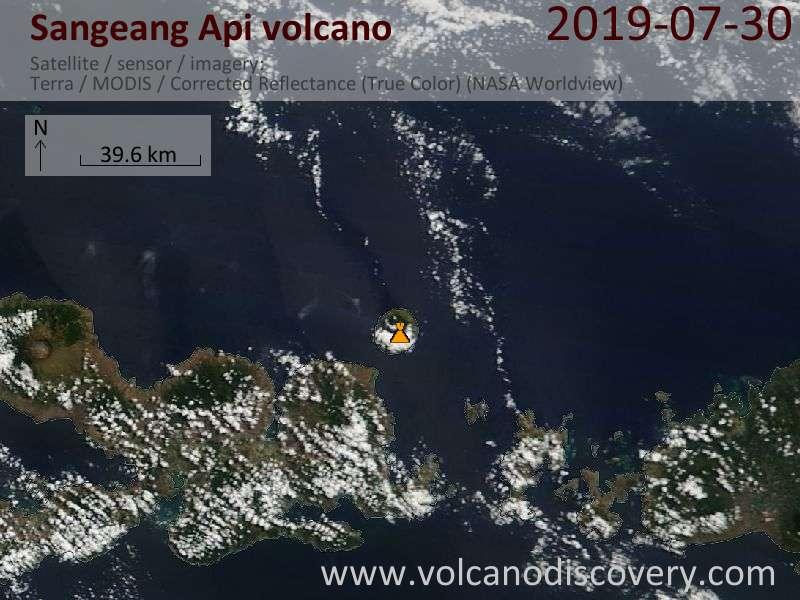 Satellite image of Sangeang Api volcano on 30 Jul 2019