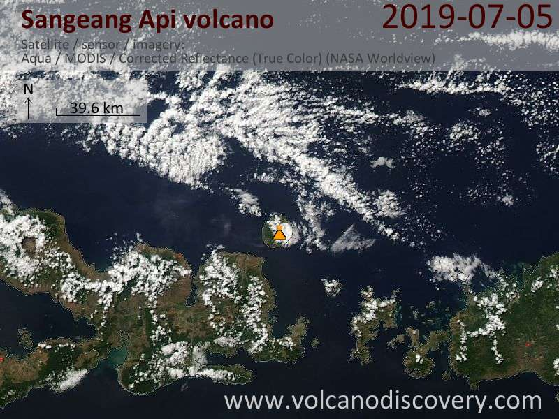 Satellite image of Sangeang Api volcano on  5 Jul 2019
