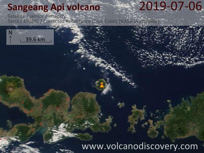 Satellite image of Sangeang Api volcano on  6 Jul 2019