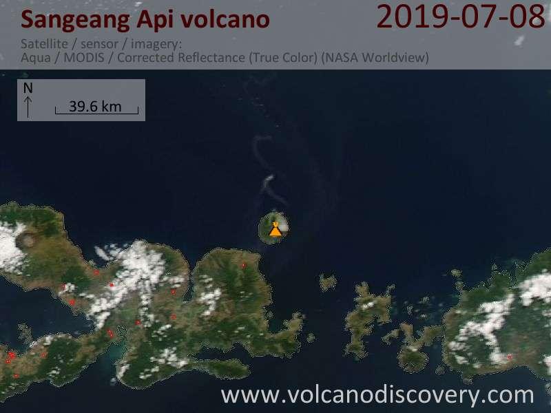 Satellite image of Sangeang Api volcano on  9 Jul 2019