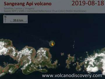Satellite image of Sangeang Api volcano on 18 Aug 2019
