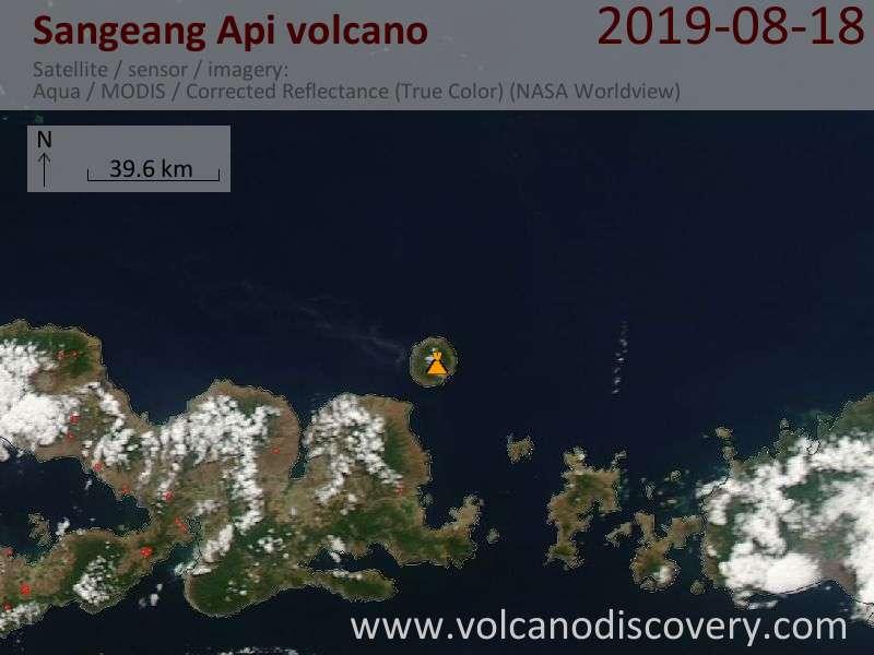 Satellite image of Sangeang Api volcano on 19 Aug 2019