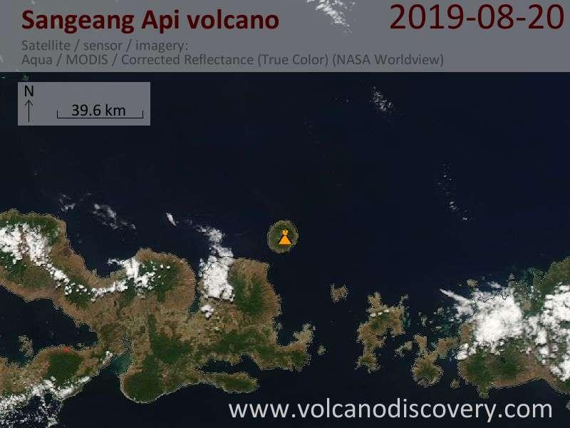 Satellite image of Sangeang Api volcano on 20 Aug 2019