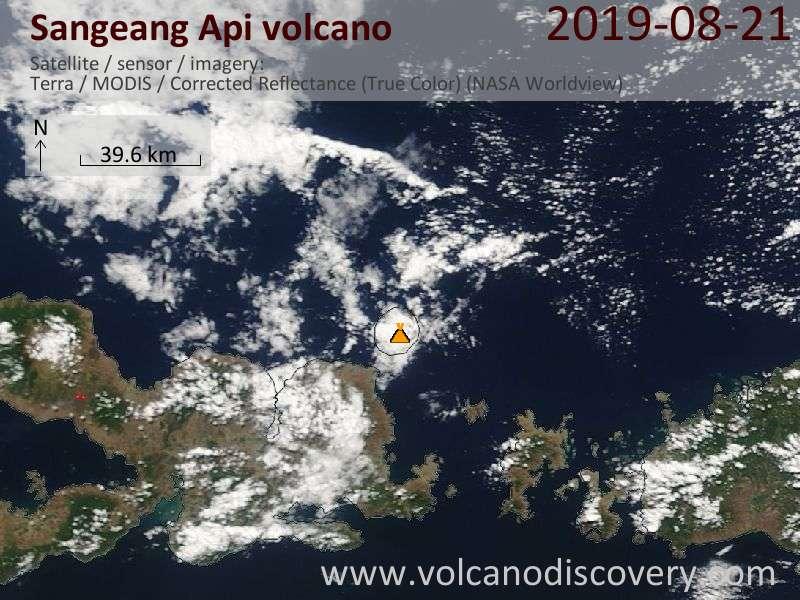 Satellite image of Sangeang Api volcano on 21 Aug 2019
