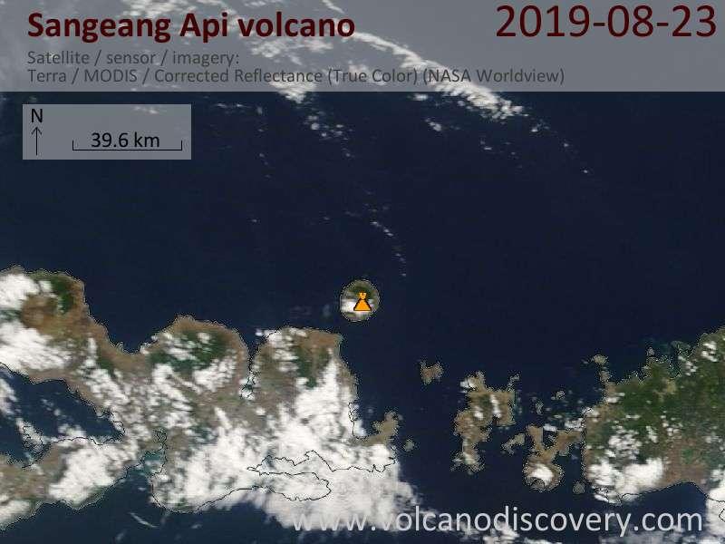 Satellite image of Sangeang Api volcano on 23 Aug 2019