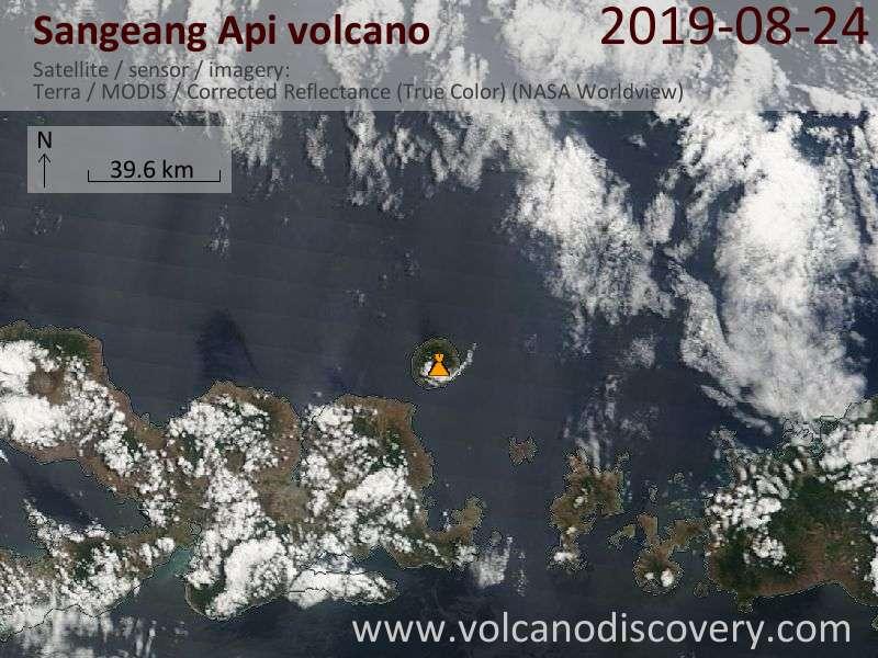 Satellite image of Sangeang Api volcano on 24 Aug 2019