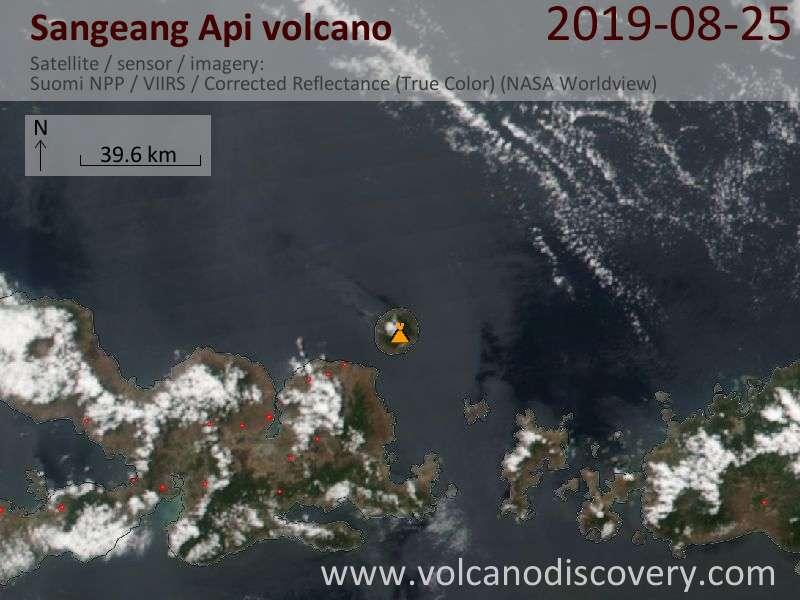 Satellite image of Sangeang Api volcano on 26 Aug 2019