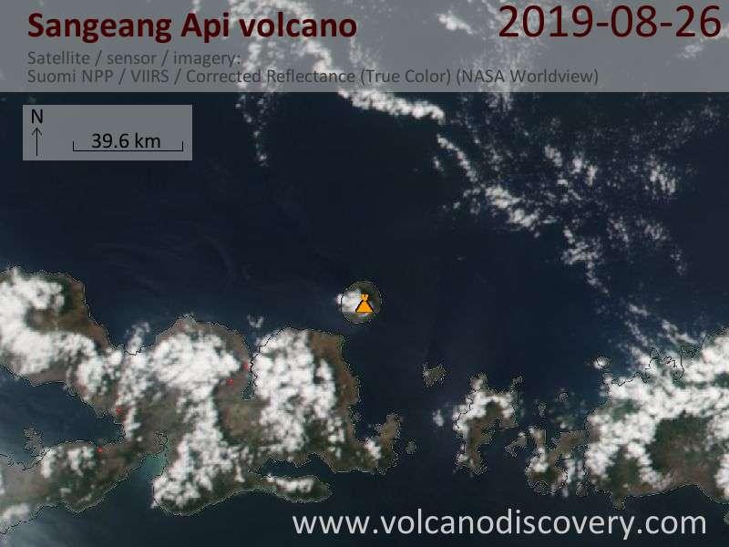 Satellite image of Sangeang Api volcano on 27 Aug 2019